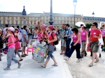 Bastille Day peace march at the Louvre Museum, Paris, France